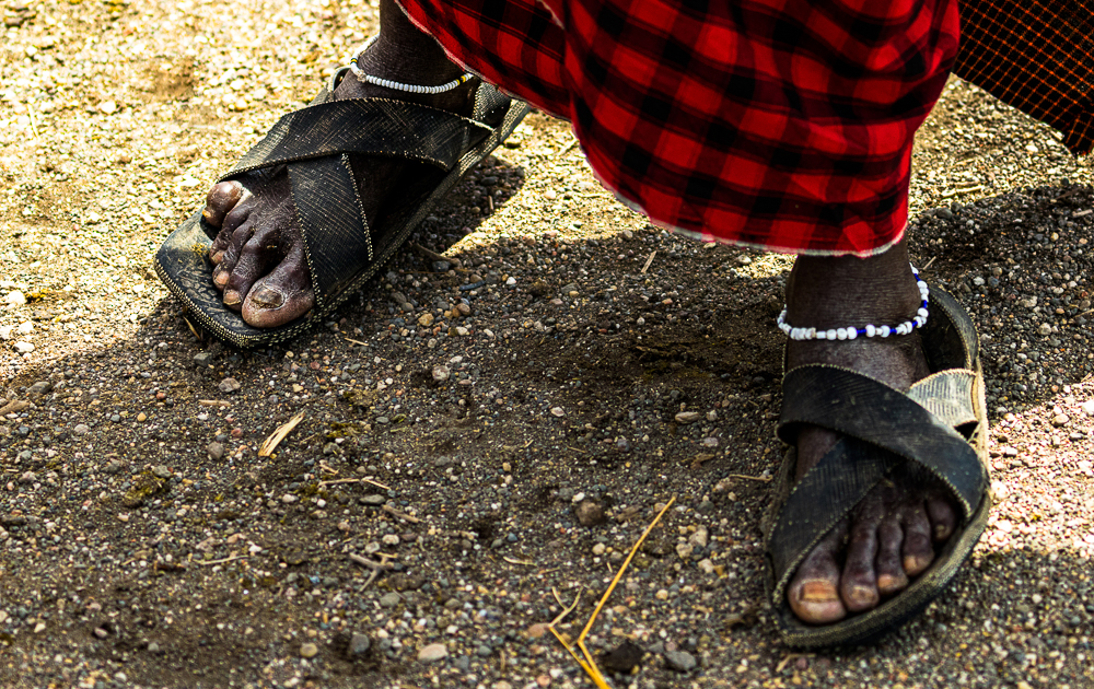 Lake Natron: a Masai wearing traditional shoes made of tires