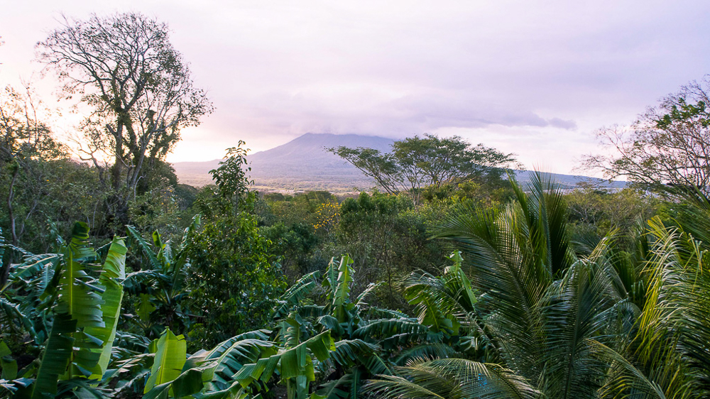 Isla Ometepe at sunset from Zopilote