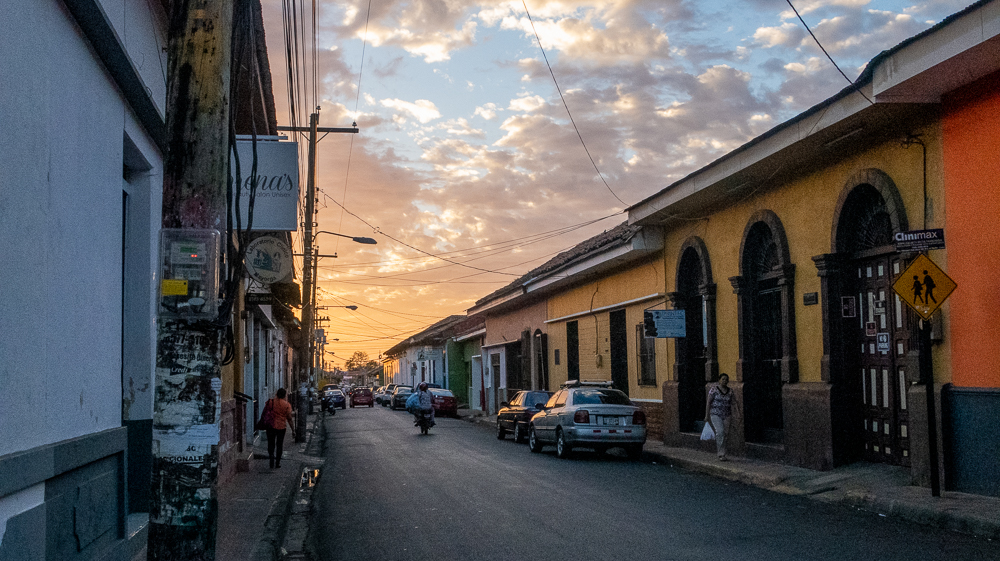 Leon, Nicaragua colorful streets at sunset