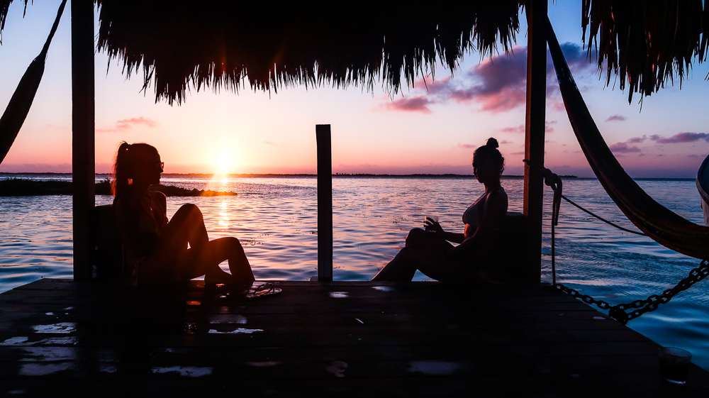 Tobacco Caye, Belize us at sunset