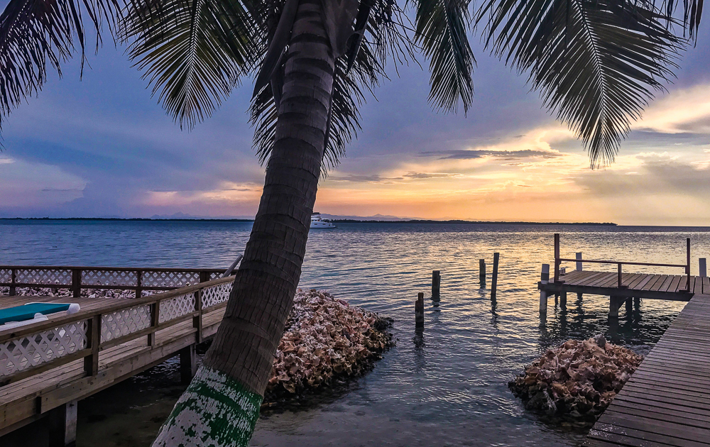 Tobacco Caye, Belize at sunset