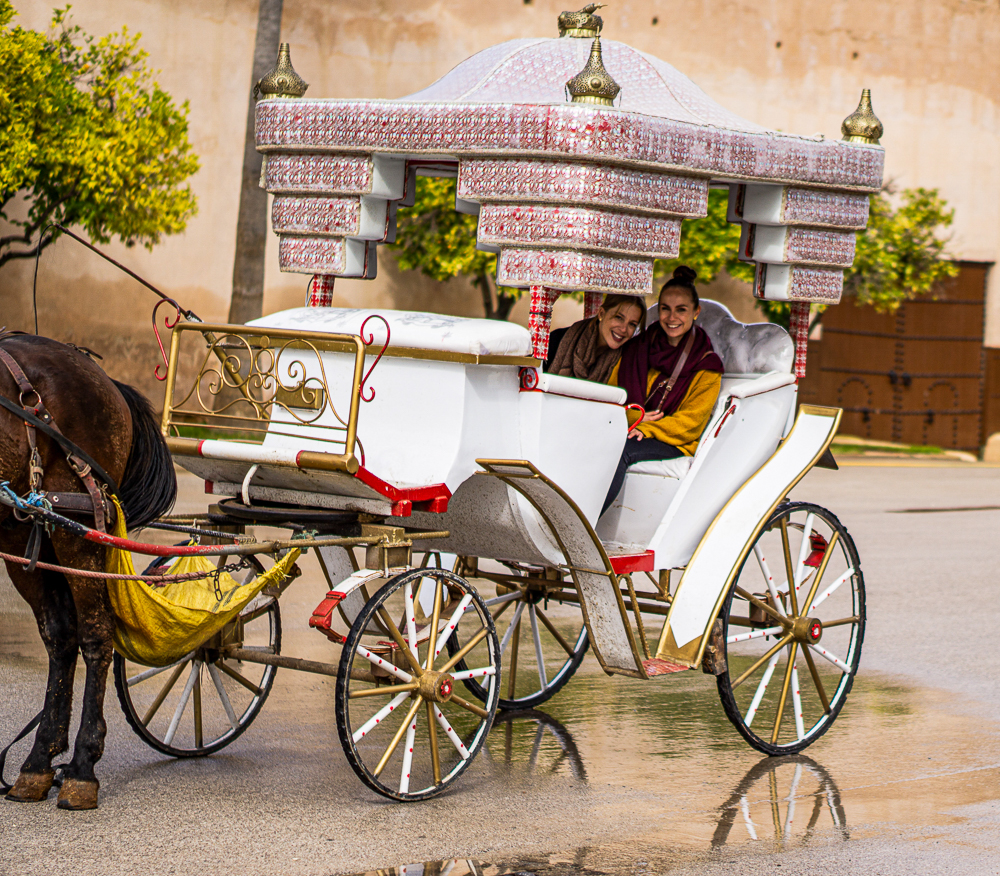 Us on horse carrige ride in Meknes, Morocco