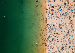 Over-tourism: crowded beach