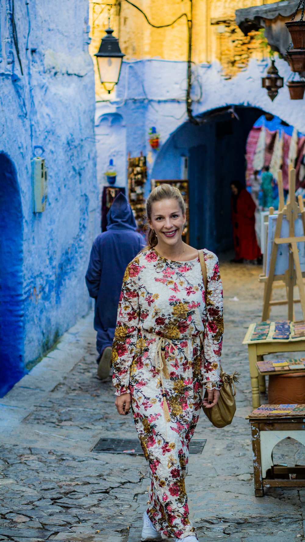 Dani on Streets of Chefchaouen, Morocco