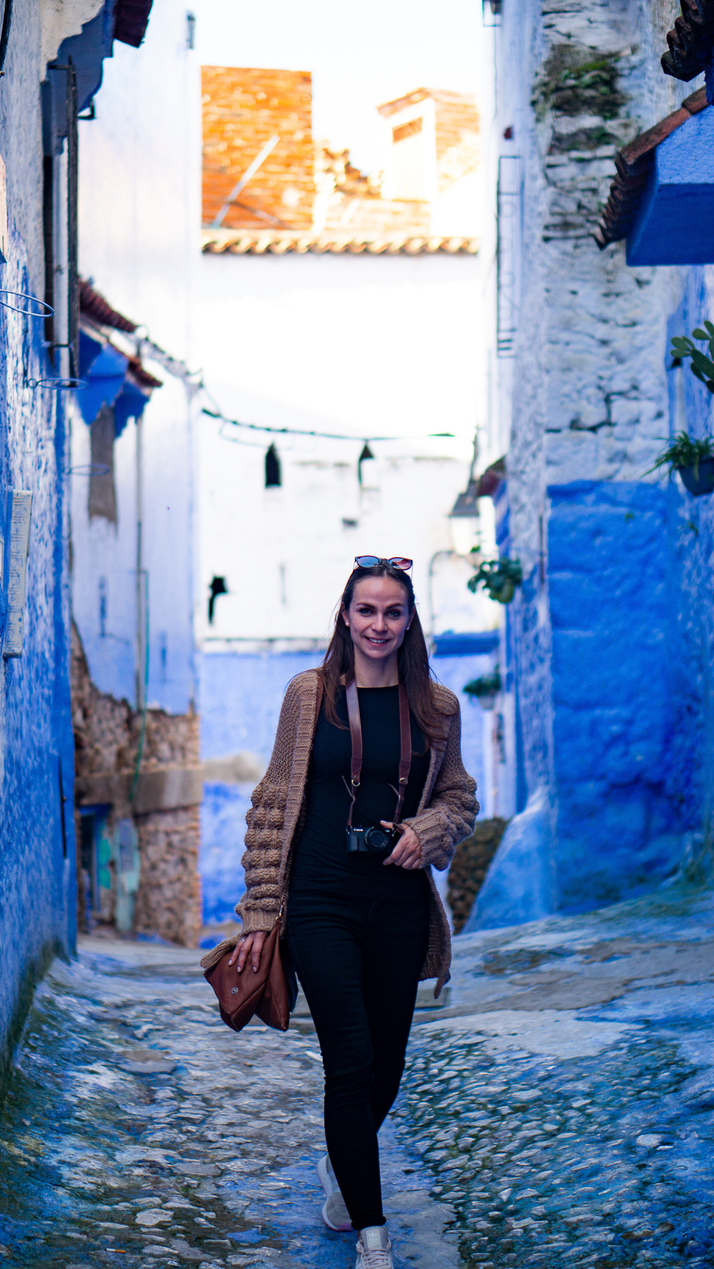Lauri on Streets of Chefchaouen, Morocco