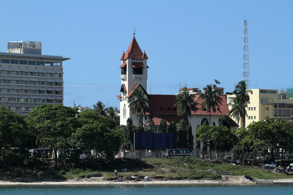 Dar es Salaam, Tanzania waterfront with church Azania Front