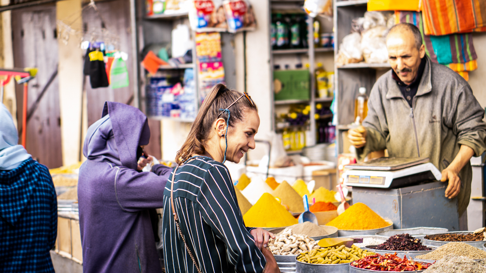 Fez, Morocco: Lauri shopping at the suk