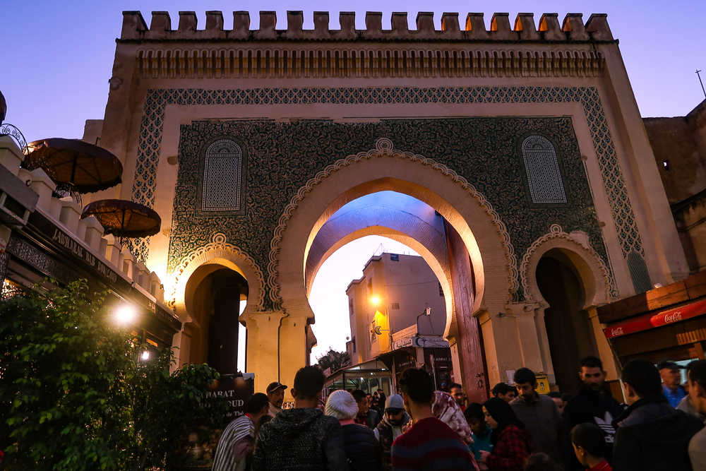 Fez, Morocco: Bab Boujeloud at night