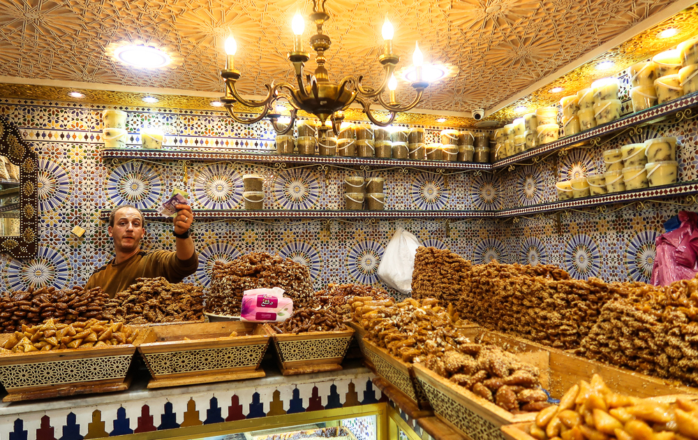 Fez, Morocco: store selling traditional moroccan sweets